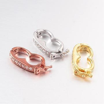Brass Micro Pave Cubic Zirconia Twister Clasps, Nickel Free & Lead Free, Mixed Color,  19.5x9.5x3mm, Hole: 7x7mm(ZIRC-L055-13-FF)