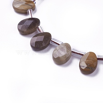 Natural Petrified Wood Beads Strands, Top Drilled Beads, Faceted, Teardrop, 12~12.5x8.5~9x4~5mm, about 32pcs/strand, 14.9 inches~16.1 inches(38~41cm)(G-I246-07)