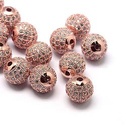 Rack Plating Brass Cubic Zirconia Beads, Long-Lasting Plated, Round, Rose Gold, 8x7mm, Hole: 2mm(ZIRC-S001-8mm-A03)