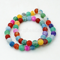 Natural Crackle Agate Beads Strands, Dyed, Round, Grade A, Mixed Color, 10mm, Hole: 1mm; about 39pcs/strand, 14.9inches