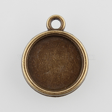 Vintage Flat Round Alloy Pendant Cabochon Settings, Cadmium Free & Nickel Free & Lead Free, Antique Bronze, Tray: 12mm; 18x15x3mm, Hole: 1.5mm(X-PALLOY-N0088-39AB-NF)