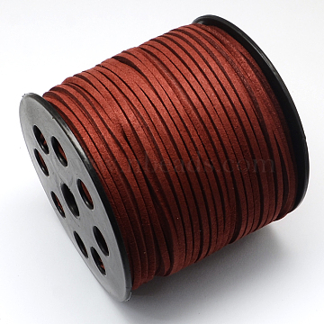 Eco-Friendly Faux Suede Cord, Faux Suede Lace, Dark Red, 3.0x1.4mm, about 98.42 yards(90m)/roll(LW-R007-3.0mm-1048)