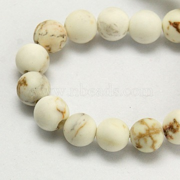 Natural Magnesite Beads Strands, Frosted, Dyed & Heated, Round, Floral White, 8mm, Hole: 1mm, about 37pcs/strand, 15.5 inches(39.4cm)(TURQ-P027-8mm-18B)