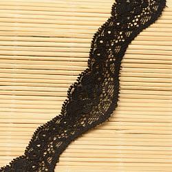 """Bordure en dentelle ruban nylon stretch pour la fabrication de bijoux, noir, 1-1/4"""" (31 mm); environ 100yards / rouleau (91.44m / rouleau)(ORIB-F001-30)"""