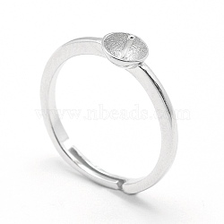 925 Sterling Silver Finger Ring Components, For Half Drilled Beads, Flat Round, Platinum, Tray: 5mm; 16.5mm; Pin: 0.7mm(STER-E060-15P)