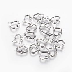 304 breloques cœur ouvert en acier inoxydable, creux, couleur inox, 10.5x11x1.5 mm, trou: 1.5 mm