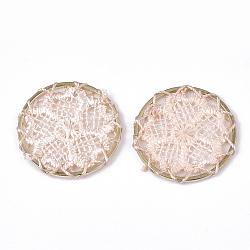 подвесные украшения из полиэстера, с железом выводы, плоские круглые с цветком, светлое золото, mistyrose, 28x2 mm(FIND-S283-05F)