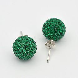Clou d'oreille en argent sterling cristal autrichien strass, rond, 205 _emerald, 20x10x1mm(X-Q286G041)