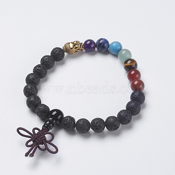 Chakra Jewelry, Natural Lava Rock and Mixed Stone Buddha Stretch Bracelets, with Alloy Findings, Buddha Head, 2-1/8 inches(54mm), Pendant: 40x10mm(BJEW-K200-02-01AG)