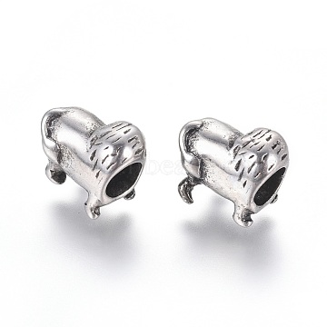 304 Stainless Steel European Beads, Large Hole Beads, Animal, Antique Silver, 10x12.5x8mm, Hole: 5mm(STAS-I121-14AS)