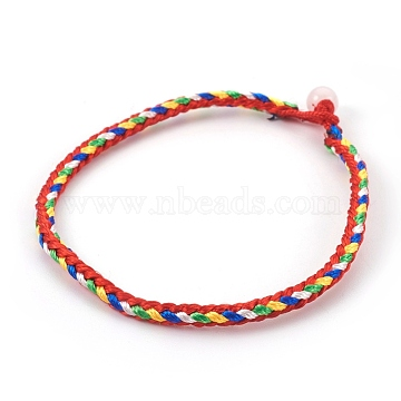 Nylon Cord Bracelet Making, with White Jade, Colorful, 7-1/2inches(19cm); 3mm(X-MAK-E666-03A)