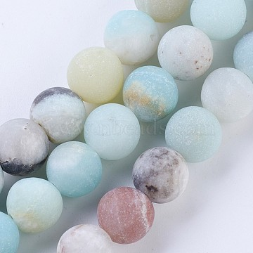 Frosted Natural Amazonite Round Bead Strands, 4mm, Hole: 1mm; about 88pcs/strand, 15.5inches(X-G-E334-4mm-09)