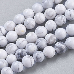 Natural Howlite Beads Strands, Round, White, 6mm, Hole: 1mm; about 32pcs/strand, 7.6inches