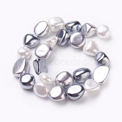 """Chapelets de perles en coquille électrolytique, nuggets, grises , 13.5~17.5x12.5~16.5x8.5~11mm, trou: 1mm; environ 26 pcs/chapelet, 15.7""""~15.9"""" (39.8~40.3 cm)(BSHE-O019-09A)"""