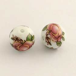 fleurs de perles de verre de l'image, arrondir, flamant, 14x13 mm, trou: 1.5 mm(X-GFB-R002-14mm-01)