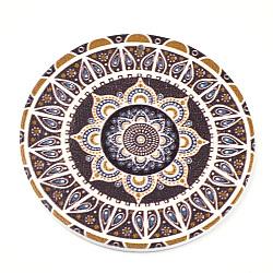 Gros pendentifs en bois imprimés, teint, plat et circulaire avec fleur, colorées, 60x2.5mm, Trou: 1.5mm(X-WOOD-S042-45)