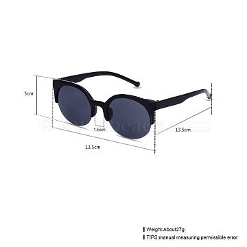 Trendy Sunglasses, Plastic Frames and Resin Lenses, Black, 13.5x5cm(SG-BB22139-3)