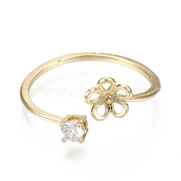 Brass Micro Cubic Zirconia Cuff Finger Ring Settings, For Half Drilled Beads, Nickel Free, Real 18K Gold Plated, Clear, 1.2~11mm, Inner Diameter: 18mm; Tray: 5mm; Pin: 0.8mm(KK-N231-155-NF)