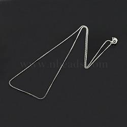 """La mode unisexe argent sterling tordu colliers de chaîne, à ressort fermoirs à anneaux, fine chaîne, argenterie, 18"""", 1mm(X-STER-M034-B-03)"""