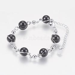 """Verre perles rondes bracelets, avec les accessoires en fer, et fermoirs pince de homard, Plaqué longue durée, rond, platine, noir, 6-7/8"""" (175 mm)(BJEW-F298-02A)"""