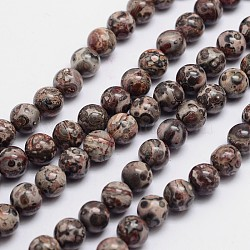 "Brins de perles rondes de jaspe en peau de léopard naturel, 8mm, trou: 1mm; environ 49 pcs/chapelet, 15.74""(X-G-L419-42)"
