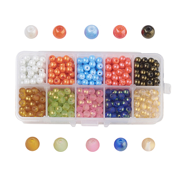 10 Colors Spray Painted Glass Beads, Dyed, Round, Mixed Color, 6mm, Hole: 1.3~1.6mm; about 70~75pcs/comparment, 700~750pcs/box(DGLA-JP0001-03-6mm)