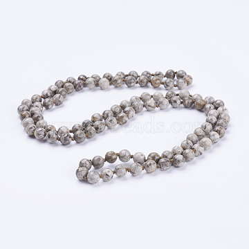 Natural Maifanite/Mai Fan Stone Beaded Necklaces, Round, 36 inches(91.44cm)(NJEW-P202-36-A36)