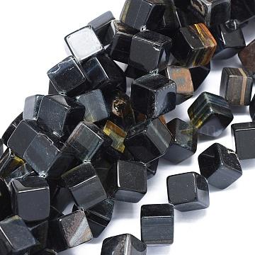 19mm Black Cube Tiger Eye Beads