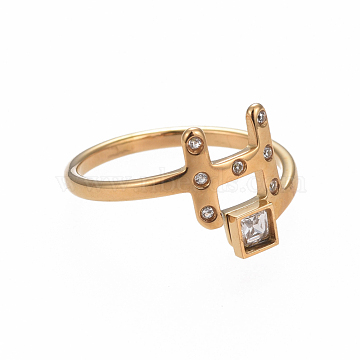 304 Stainless Steel Finger Rings, with Rhinestone, Initial Letter H & Square, Crystal, Golden, Size 6~9, 16~19mm(RJEW-I063-02G)