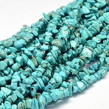 Chip Dyed Natural Howlite Bead Strands, Dark Turquoise, 5~14x5~10mm, Hole: 1mm; about 33.85 inches(X-G-L454-06)