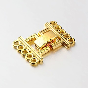 5 Strands Alloy and Brass Fold Over Clasps, 10-Hole, Golden, 24x16.5x5mm, Hole: 2mm(PALLOY-N0112-02G)