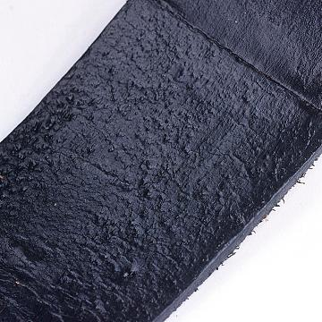 Cowhide Leather Cord, Leather Jewelry Cord, Single Side Smooth, Black, 35x2mm(WL-H011-35x2mm-2)