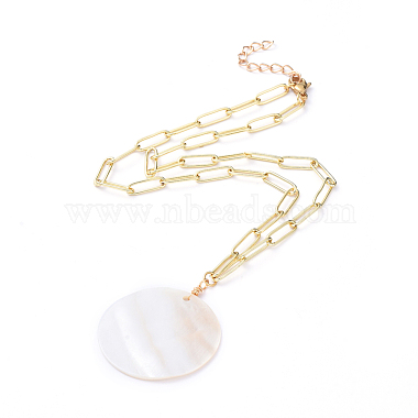 Natural Freshwater Shell Pendant Necklaces(X-NJEW-JN02788)-1