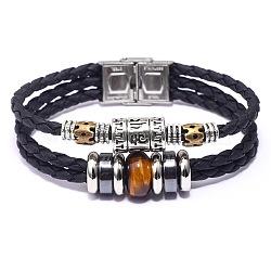 """Bracelets de multi-brins en cuir, avec oeil de tigre, hématite synthétique, accessoires en alliage et fermoirs en acier inoxydable, 8-1/8"""" (20.5 cm), 13mm(BJEW-F352-09P-01)"""