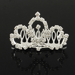 Peignes couronne de mariage strass mode, diadèmes de mariée, diadèmes d'enfant, avec le fer et le laiton de base, cristal, 40x58mm(OHAR-R271-02)
