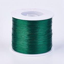 chaîne de cristal élastique plat, fil de perles élastique, pour la fabrication de bracelets élastiques, seagreen, 0.3 mm; sur 500 m / rouleau(EW-F006-24)