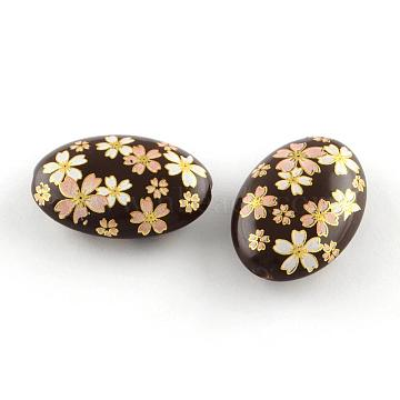 Flower Pattern Opaque Printed Acrylic Beads, Oval, Coconut Brown, 19x13.5x6mm, Hole: 2mm(MACR-R550B-01A)
