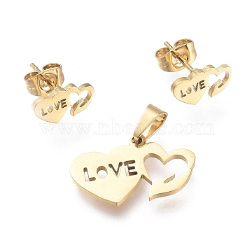 Valentine's Day 304 Stainless Steel Jewelry Sets, Pendants and Stud Earrings, with Ear Nuts, Heart with Word Love, Golden, 13x20x1mm, Hole: 5.5x3.3mm; 5.5x10.5mm, Pin: 0.7mm(SJEW-K154-29G)