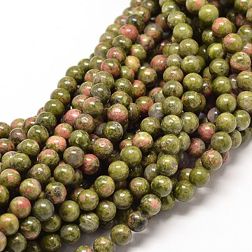 Natural Unakite Round Bead Strands, 8mm, Hole: 1mm, about 47pcs/strand, 15.5 inches(X-G-P072-30-8mm)