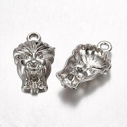 Пластмассовые подвески ccb, маска, античное серебро, 21.5x13x4.5 мм, отверстие : 2 мм(CCB-G003-02AS)
