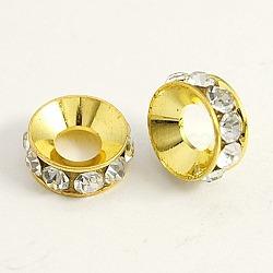 Латунные бусины разделители для поставки стразов, рондель, белые, золото, диаметром около 10 мм , толщиной 4 мм , отверстие : 4 мм(X-RSB093-2G)