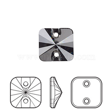 Austrian Crystal Buttons, 3201, Crystal Passions, Faceted Rivoli Square, 001 SINI_Crystal Silver Night, 12x12x5.5mm, Hole: 1.5mm(X-3201-12mm-001SINI(U))
