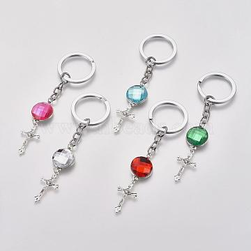 Acrylic Rhinestone Keychain, with Tibetan Style Crucifix Pendants and Alloy Findings, Mixed Color, 120mm(KEYC-JKC0018)