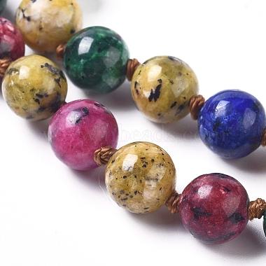 Dyed Natural Sesame Jasper/Kiwi Jasper Beaded Necklaces(NJEW-P249-B01)-3