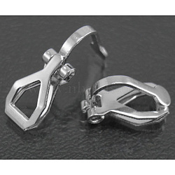 Brass Clip-on Earring Findings, for non-pierced ears, Platinum Plated, Nickel Free, 12.5x6x8mm(X-EC110-NF)