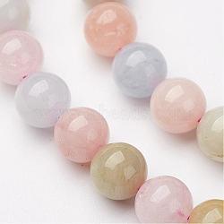 Chapelets de perles en morganite naturelle, rond, 12mm, trou: 1mm; environ 32 pcs/chapelet, 15.5''(G-P213-18-12mm)