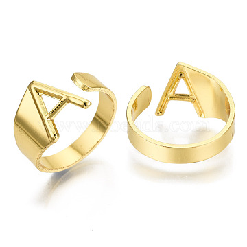 Alloy Cuff Finger Rings, Cadmium Free & Nickel Free & Lead Free, Alphabet, Golden, Letter.A, US Size 8(18.1mm)(RJEW-S038-195A-G-NR)