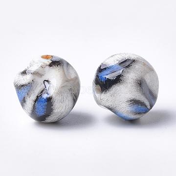 Printed Acrylic Beads, Bumpy, Round, RoyalBlue, 17.5x18x18mm, Hole: 2.5mm(MACR-T024-37B)