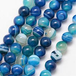Natural Striped Agate/Banded Agate Bead Strands, Round, Grade A, Dyed & Heated, DeepSkyBlue, 8mm, Hole: 1mm; about 47pcs/strand, 15inches