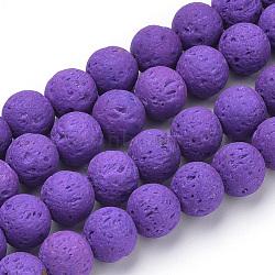 """Chapelets de perles de lave naturelle, teint, rond, blueviolet, 8~8.5mm, trou: 1mm; environ 50 pcs/chapelet, 15.9"""" (40.3 cm)(X-G-S277-8mm-06)"""